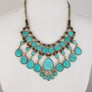 Epic Turquoise Cabochon Bib Statement Necklace